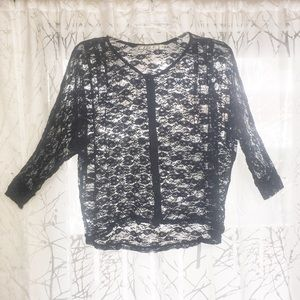 ⚠️ Sheer black lace button up 1/2 sleeve top ⚠️